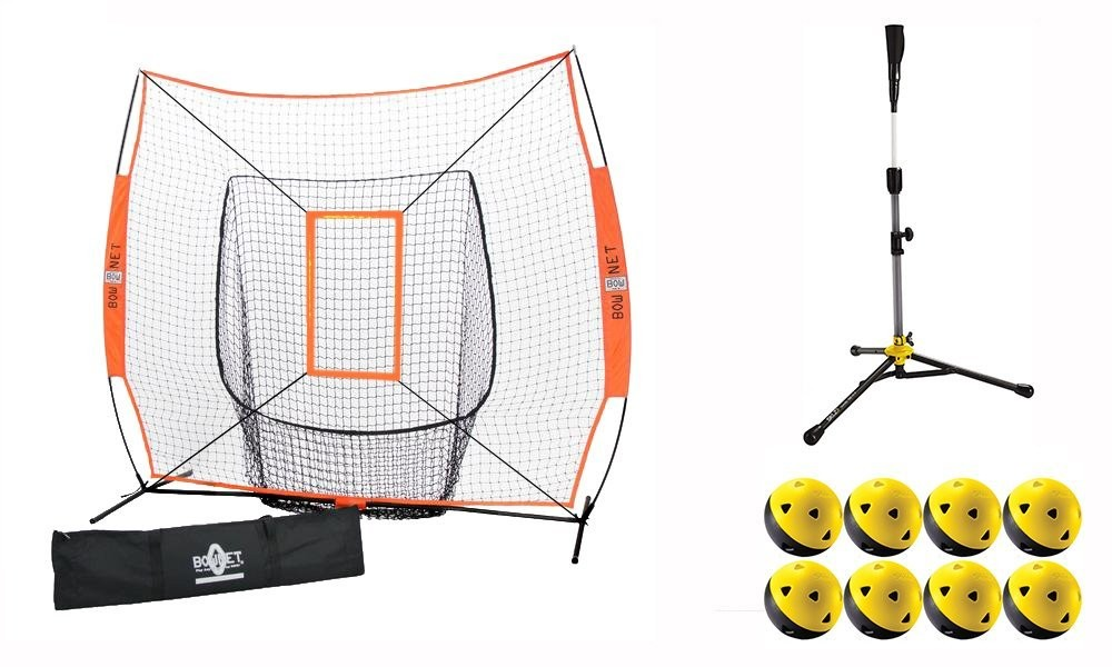 Bownet Coach's Bundle (Bownet Big Mouth Net, Strike Zone, SKLZ Travel Tee DLX, & Impact Balls)
